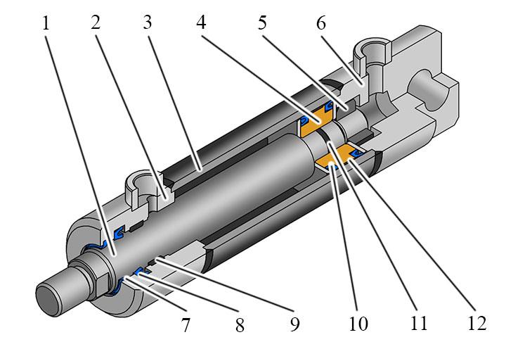 Конструкция гидроцилиндра двухстороннего действия