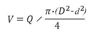 Формула для расчета скорости движения поршня при подаче в штоковую полость