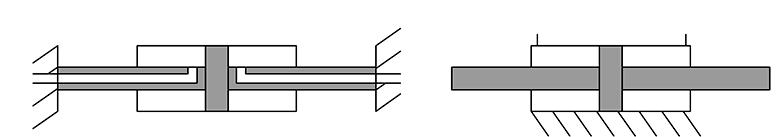 Закрепленный шток и закрепленный цилиндр